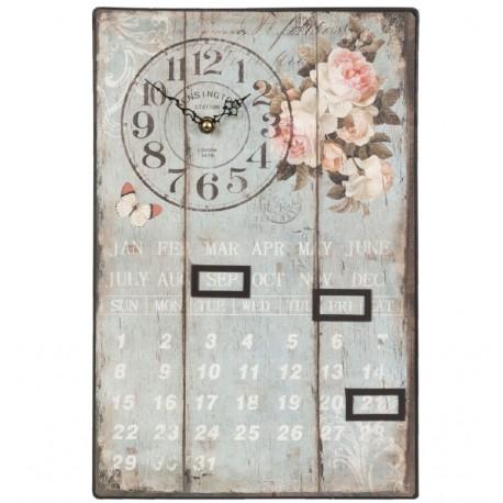 Metalowy kalendarz w niebieskim kolorze posiadajacy zegar i motyw kwiatów