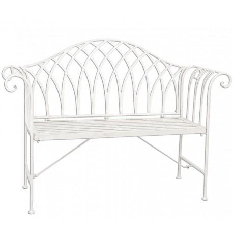 biała ławka wykonana z metalu