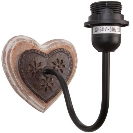 drewniano metalowy kinkiet rustykalny w kształcie serca