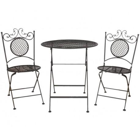 Ciemny komplet metalowych mebli w skład którego wchodzą dwa krzesła i okrągły stolik