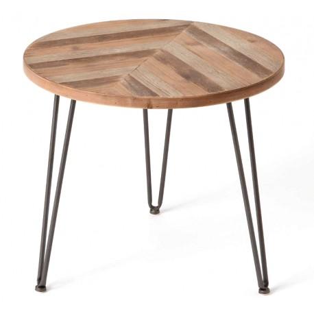 stolik z okrągłym blatem i metalowymi nogami