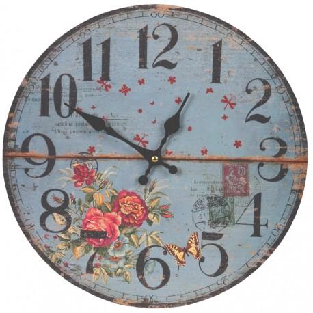 Niebieski zegar w stylu prowansalskim z różami