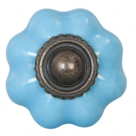 niebieskie gałki ceramiczne w kształcie kwiatka