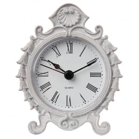 Pięknie zdobiony jasno szary zegarek stojący