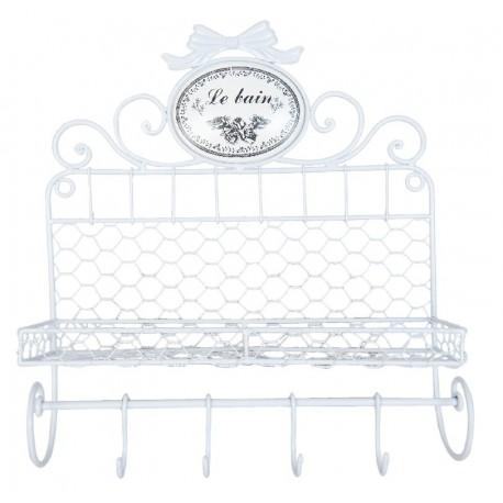 Biała metalowa półka z czteroma wieszakami ozdobiona na górze napisem