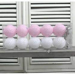 Kule Świecące Cotton Balls Różowo-Białe