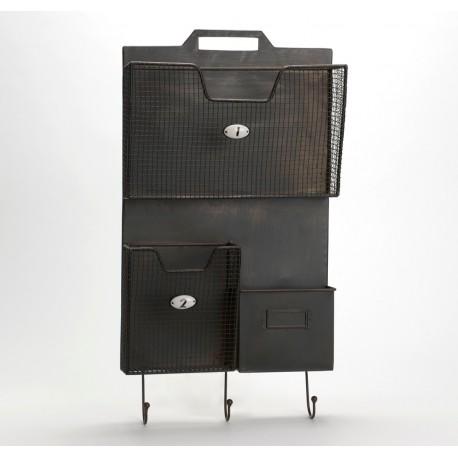 czarny metalowy organizer na ścianę z trzema przegródkami i trzema wieszakami