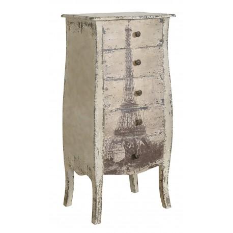 Ozdobna komoda z pięcioma szufladami oraz motywem wieży eiffla