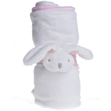 Kocyk Dziecięcy z Króliczkiem Biało-Różowy