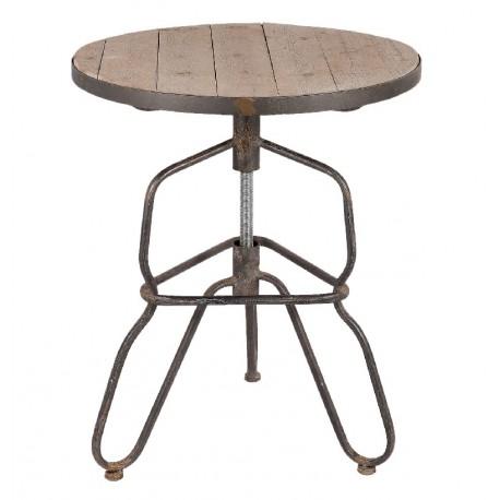 Metalowy stolik z drewnianym blatem