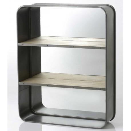 Wisząca szafka z metalu posiadająca lustro