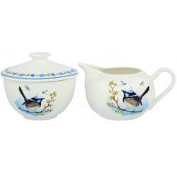Mlecznik i Cukiernica z Ptaszkami Porcelanowe