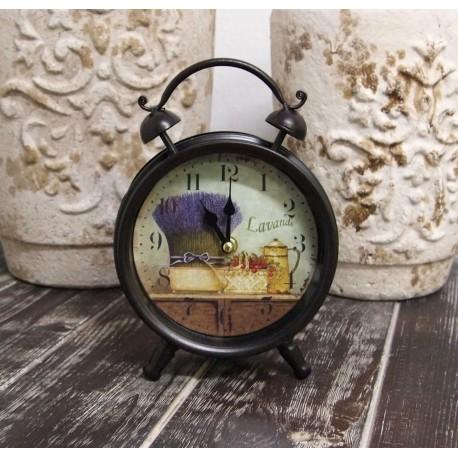 Zegar W Stylu Retro z czarną ramą i lawendą na tarczy