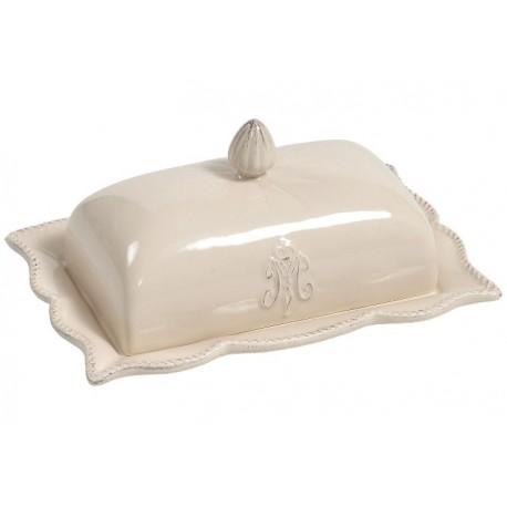 ceramiczna maselnica z ozdobną podstawką i pokrywką