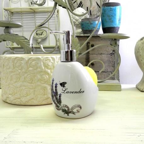 Biały ceramiczny dozownik do mydła z gąbką z motywem lawendy