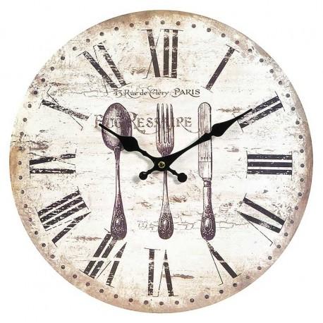 Zegar marki Belldeco w jasno szarej kolorystyce z rzymskimi cyframi i sztućcami