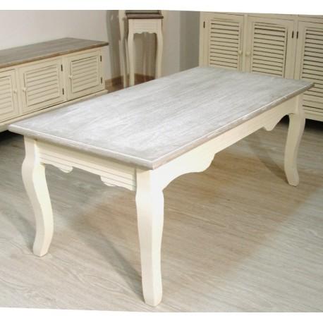 Prostokątny stolik kawowy z kremowym spodem oraz bielonym blatem