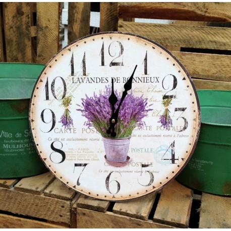 Prowansalski zegar ozodobiony motywem lawendy w żywej kolorystyce