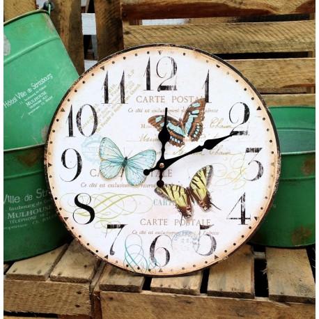 Zegar w stylu Retro Ozodbiony kolorowymi motylami