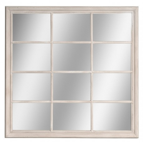 kwadratowe lustro w jasnej ramie
