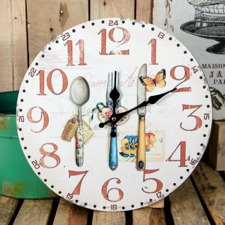 Jasny zegar z motywem kuchennym