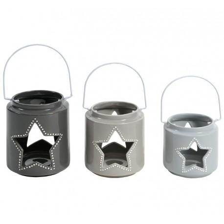 Lampion belldeco w trzech rozmiarach i w trzech odcieniach szarości, posiadający otwory w kształcie gwiazdek