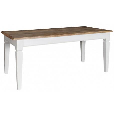 stół prostokątny o białej podstawie i bielonym brązowym blacie.