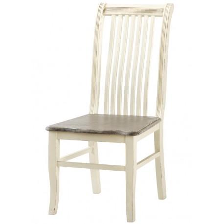 Jasne krzesło w stylu prowansalskm z bielonym siedziskiem