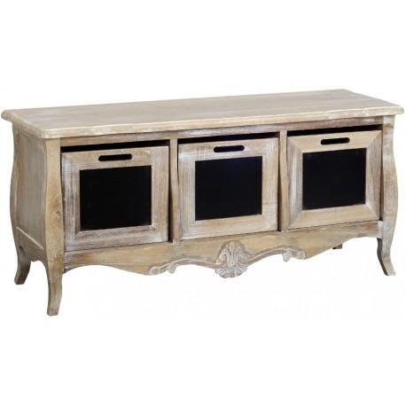 Bielona komoda w stylu prowansalskim z trzema pojemnymi szufladami