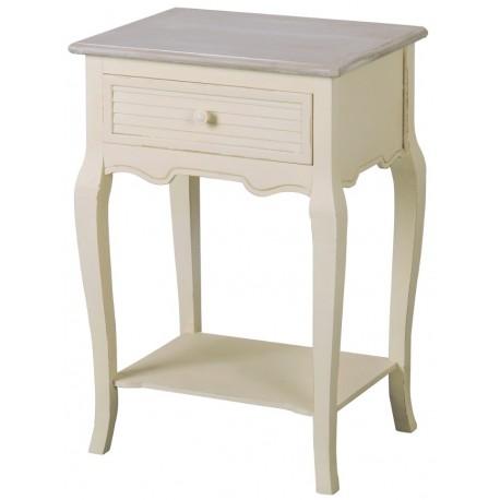 Stolik nocny w kremowym kolorze z szufladką i półką
