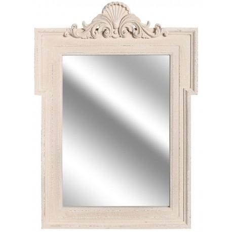 lustro w jasnej ramie z dekorem