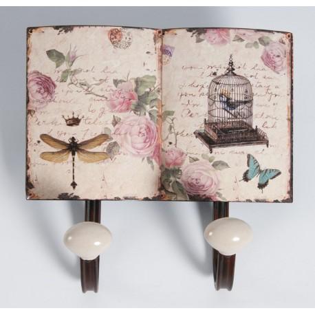 podwójny wieszak wykonany z metalu ozdobiony grafiką owadów i róż