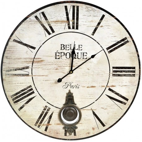 Wyjątkowy zegar retro. Rzymskie cyfry na jasnej, postarzanej specjalnie tarczy. Pieknie profilowane wskazówki i napisy w języku francuskim.