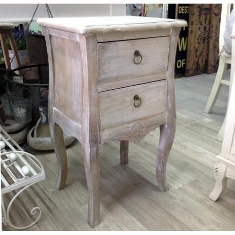 Bielony, drewniany stolik nocny z dwoma szufladkami