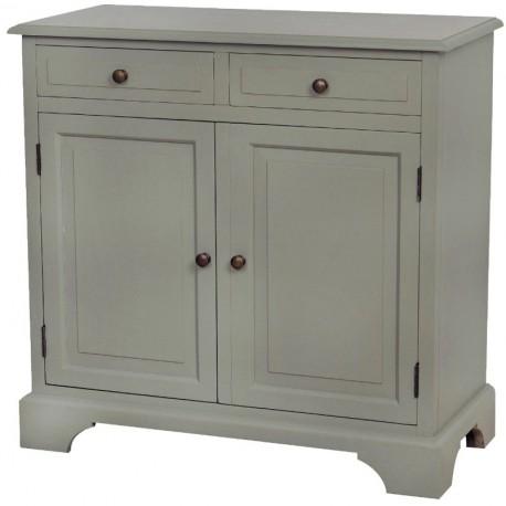 Komoda w stylu prowansalskim w szarym kolorze z dwiema szufladkami oraz półką.