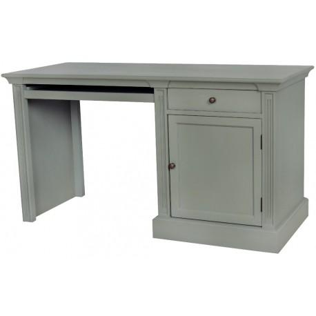 szare biurko z wysuwaną szufladą na klawiaturę, szufladą i drzwiczkami
