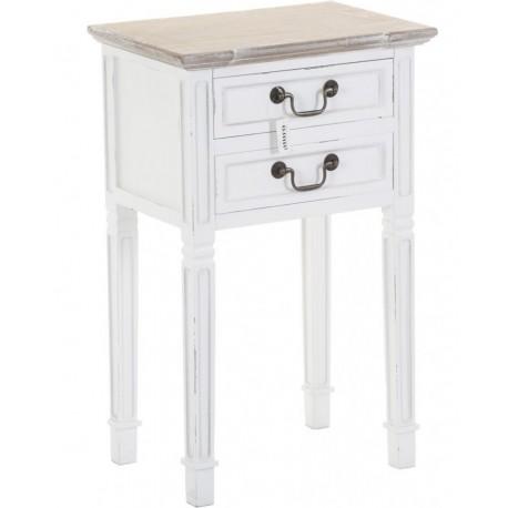 Biały stolik nocny z dwoma szufladkami