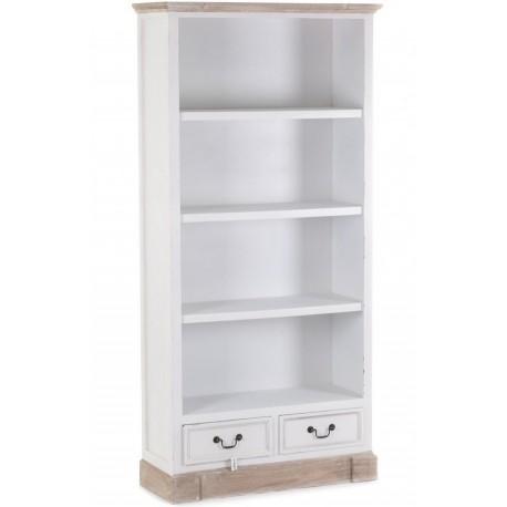 Biały regał z otwartymi półkami oraz szufladkami