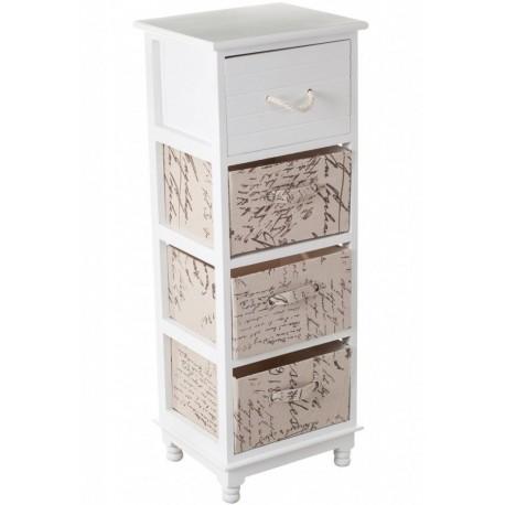 Biała szafeczka z trzema materiałowymi szufladkami i jedną drewnianą