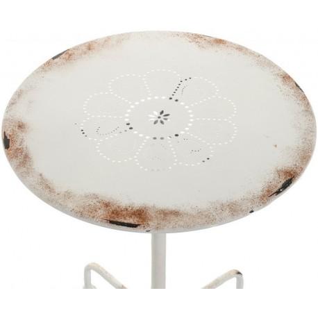 Biały, postarzany z rdzą stolik. Na blacie posiada piękny ażurowy wzór. Wprowadzi cudny klimat do Twojego ogrodu.