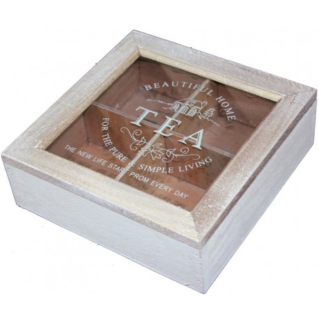 Kwadratowe pudełeczko na herbatę. Wykonane z drewna, szklane wieczko z napisami, nie sposób żeby herbaty się pomieszały.