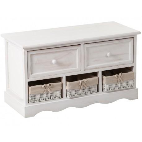 Ławka skrzynia z dwiema bialymi szufladami oraz trzema koszami