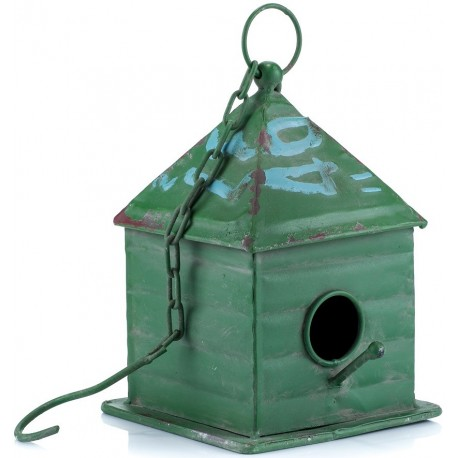Zielony domek dla ptaków, po środku znajduje się małe okrągłe wejście jak i podest, żeby ptak mógł usiąść.