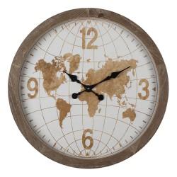Zegar w Drewnianej Ramie z Mapą