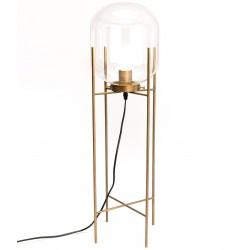 Złota Lampa Stojąca ze Szklanym Kloszem A