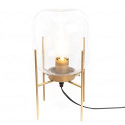 Złota Lampa Stojąca ze Szklanym Kloszem B
