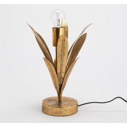Złota Lampa Stołowa Liście