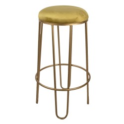 Złoty Stołek Barowy z Żółtym Siedziskiem Clayre & Eef