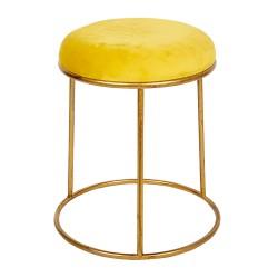 Złoty Stołek z Żółtym Siedziskiem Clayre & Eef