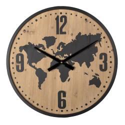 Drewniany Zegar z Niklowanym Rantem A